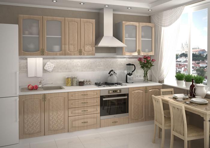 Однорядная компоновка кухни в 12 квадратных метров