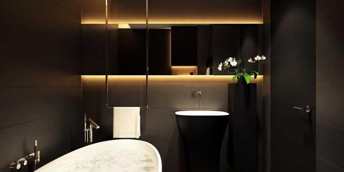 Стильная ванная в черных тонах