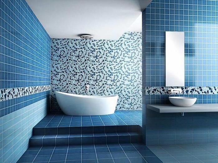 Современная ванная комната с мозаикой
