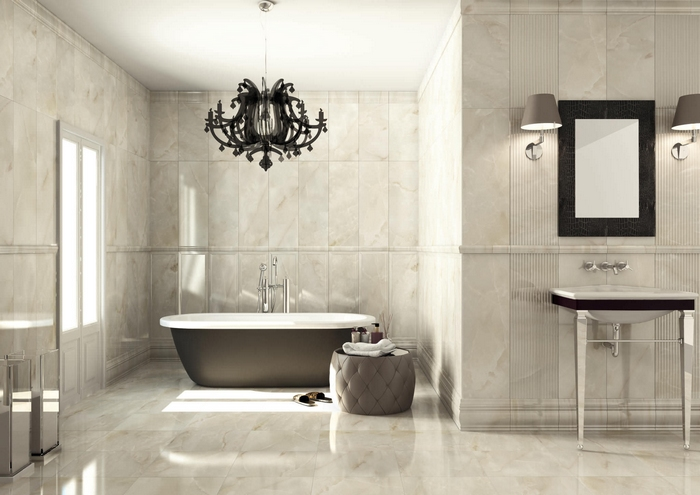 Вертикальная плитка в ванной