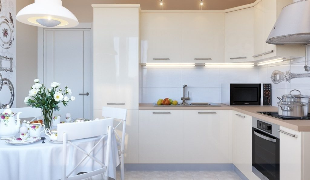 Кухни Икеа в расцветке белый глянец-2