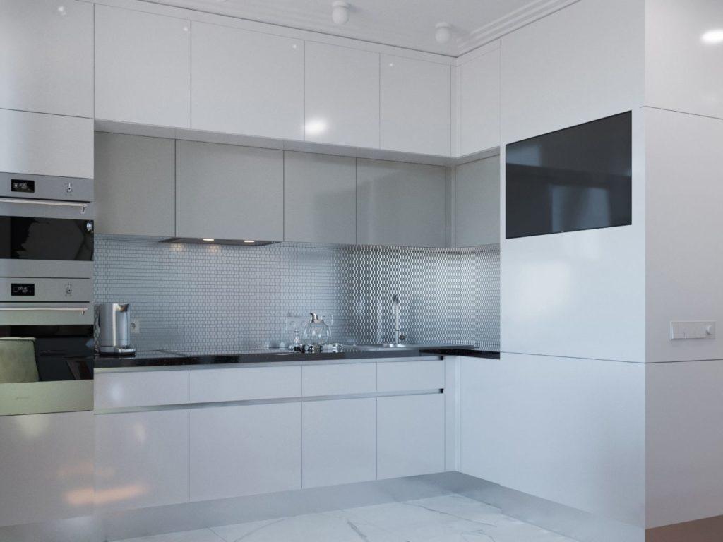 Кухни Икеа в расцветке белый глянец-3