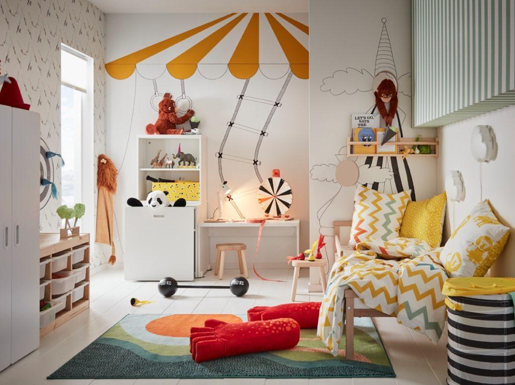 икеа-флисат-лустигт-детская-игровая-комната-в-цирковой-тематике-интерьер