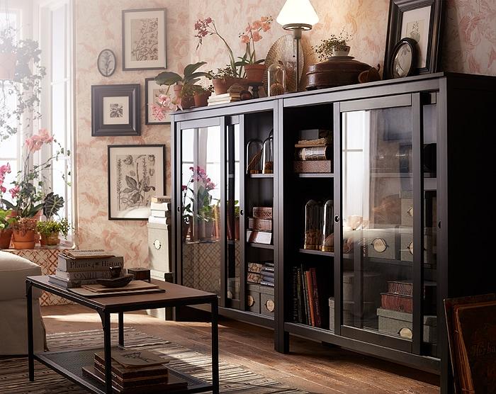 ХЕМНЭС шкаф со стеклянными дверцами, черно-коричневый__201811_lisr52a_01_PH145832